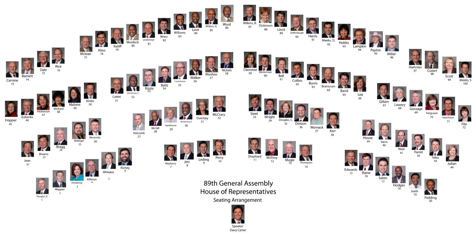 Seating Chart For The 89th General Assembly Arkansas House