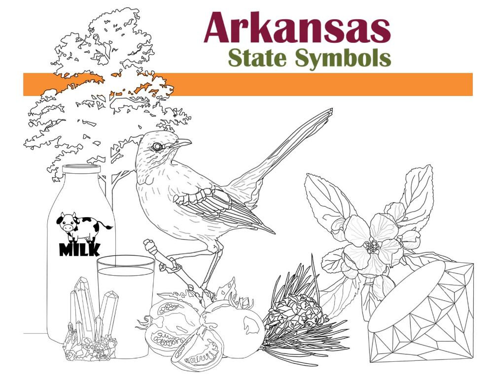 State Symbols of Arkansas Coloring Book