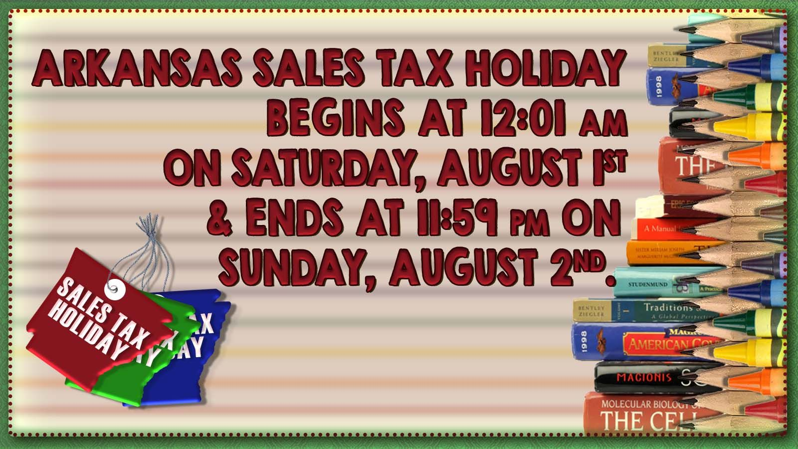 Arkansas Sales Tax Holiday 2020